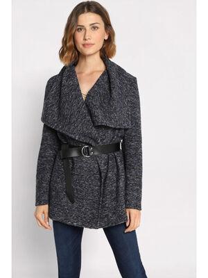 Manteau cintre ceinture bleu marine femme