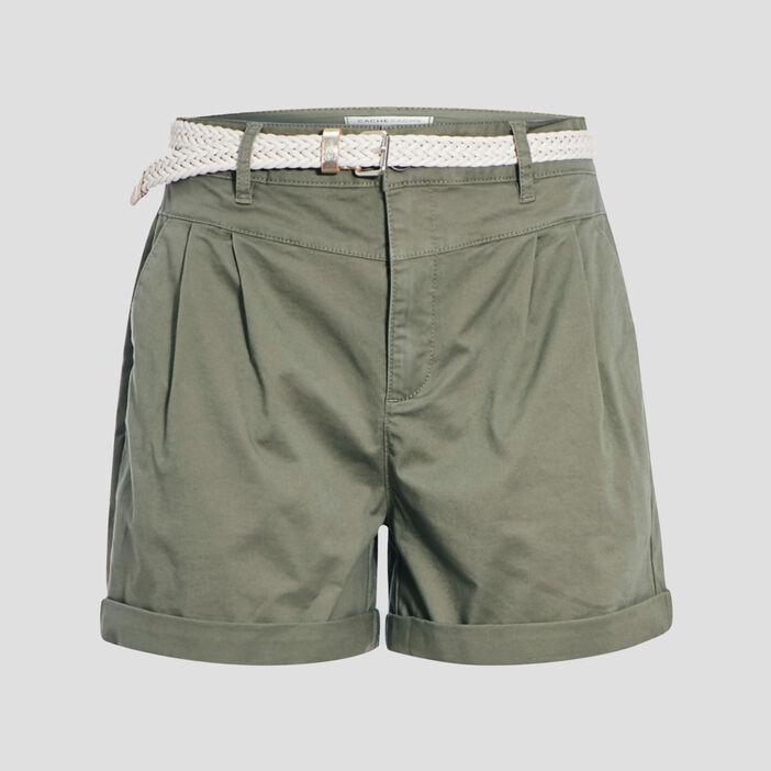 Short chino ceinturé vert kaki femme