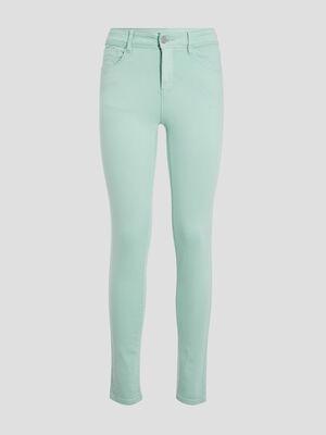 Jeans slim 5 poches vert menthe femme