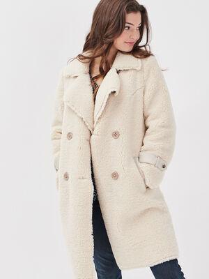 Manteau droit fausse fourrure ecru femme