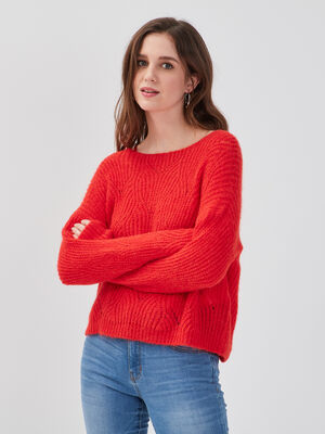 Pull ajoure col rond rouge fluo femme