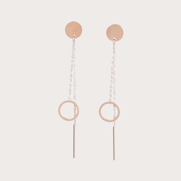 Boucles d'oreilles à pendants dorées rose clair femme