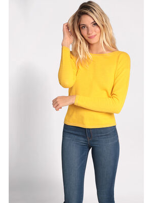 Pull fantaisie col bateau jaune femme