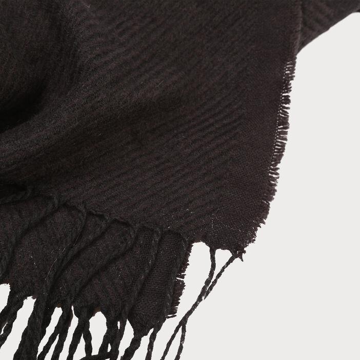 Écharpe à franges noir femme