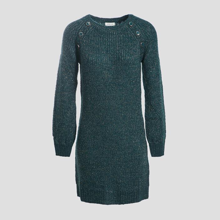 Robe pull droite vert foncé femme