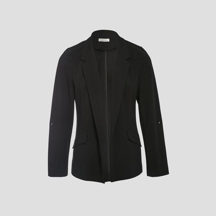 Veste blazer droite col cranté noir femme