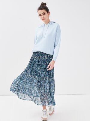 Jupe longue evasee plissee bleu femme
