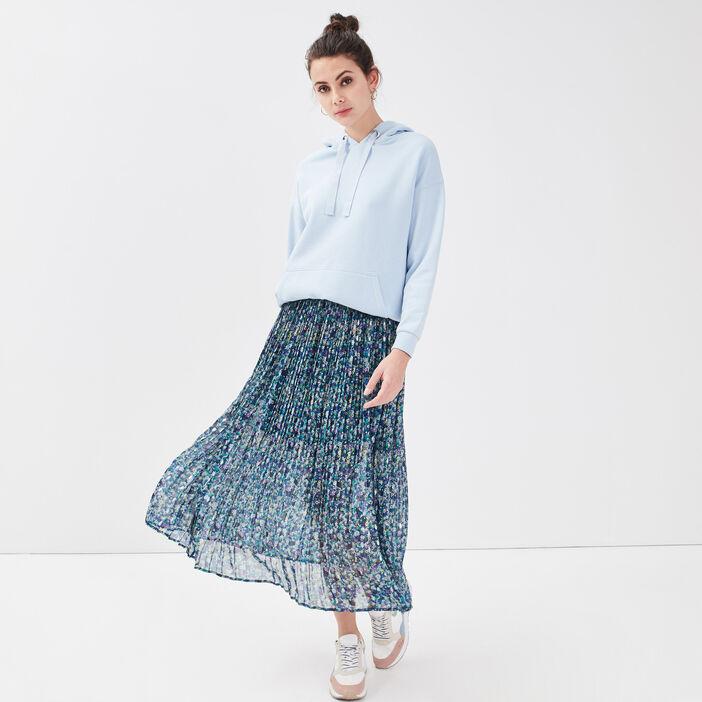 Jupe longue évasée plissée bleu femme
