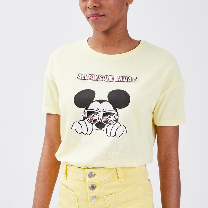 T-shirt manches courtes Mickey jaune pastel femme