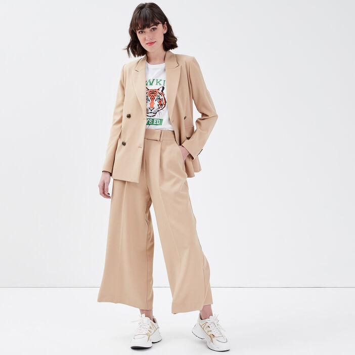 Pantalon large 7/8ème beige femme