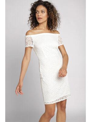 Robe courte en dentelle blanc femme