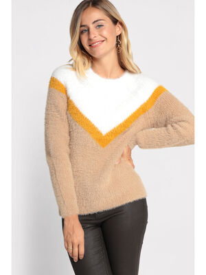 Pull manches longues duveteux jaune moutarde femme