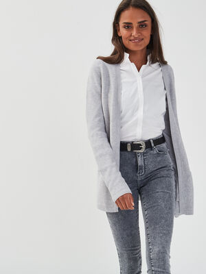 Gilet manches longues a poches gris clair femme
