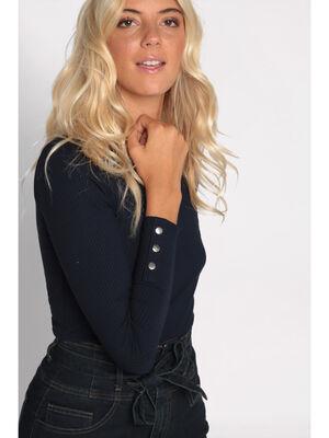 T shirt manches longues cotele bleu marine femme