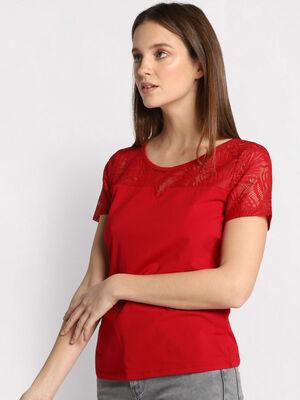 T shirt manches courtes rouge fonce femme