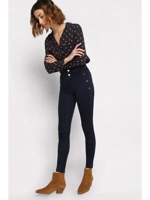 Jeans skinny a boutons denim brut femme