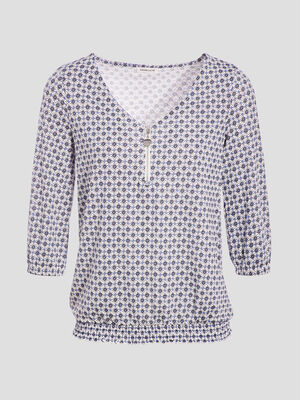 T shirt manches 34 blanc femme