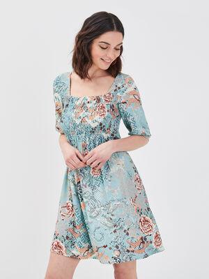 Robe evasee smockee bleu turquoise femme