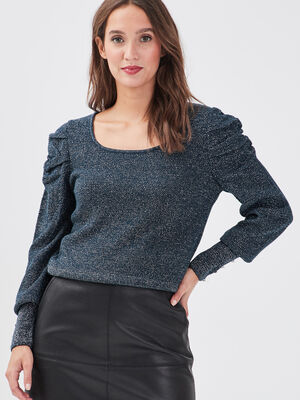 Pull manches froncees bleu petrole femme