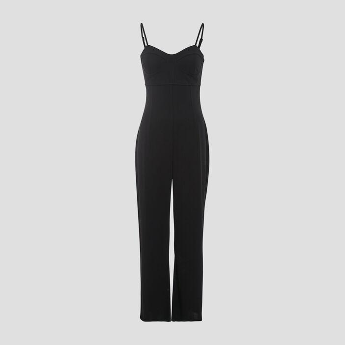 Combinaison pantalon ajustée noir femme