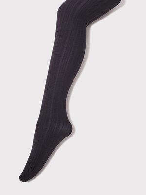 Collants avec torsades noir femme