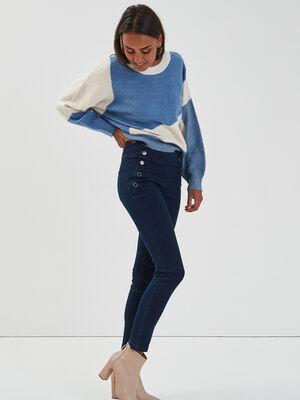 Jeans slim taille haute a pont denim brut femme
