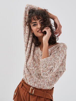 Pull manches 34 rose clair femme
