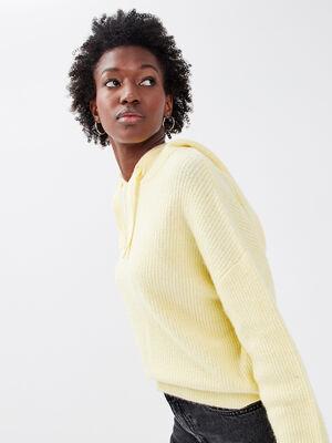 Pull avec capuche jaune pastel femme