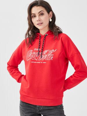 Sweat a capuche Coca Cola rouge femme