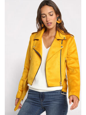 Veste esprit biker suedine jaune moutarde femme