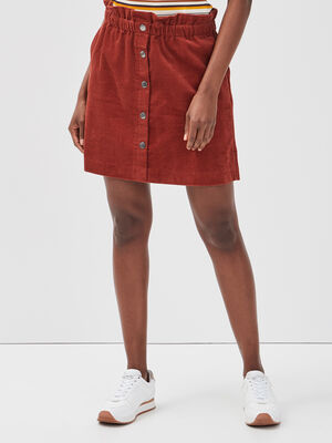 Jupe evasee taille froncee rouge fonce femme