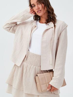 Veste droite avec noeud ecru femme