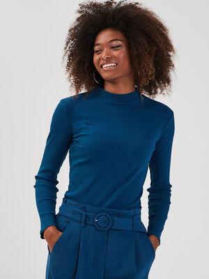 T shirt maille cotelee bleu petrole femme