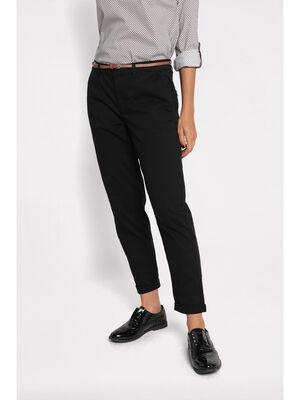 Pantalon chino avec ceinture noir femme