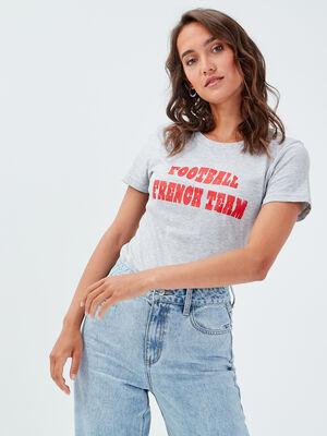 T shirt manches courtes gris clair femme