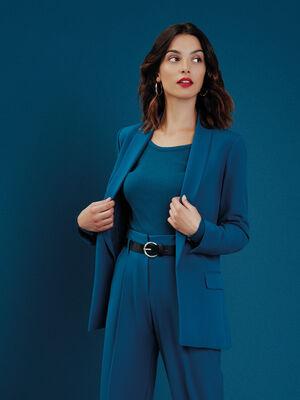 Veste blazer droite col chale bleu petrole femme