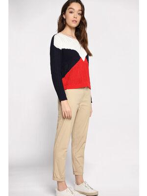 Pantalon chino avec ceinture beige femme
