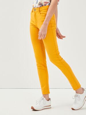 Pantalon slim 5 poches jaune femme