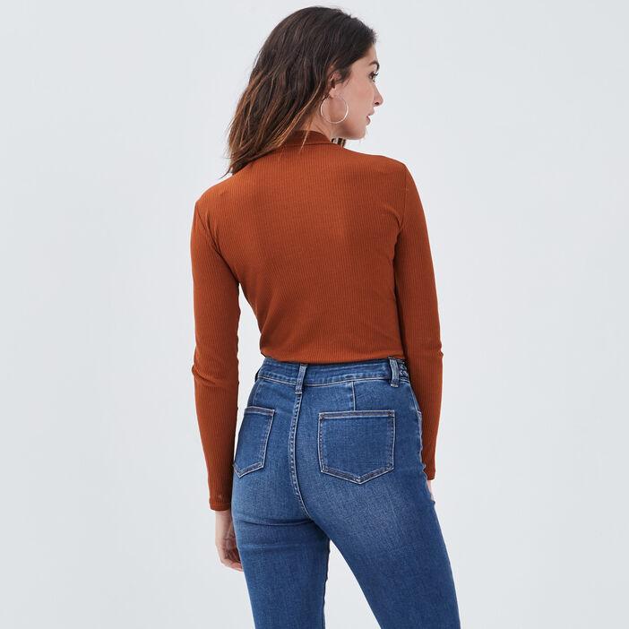 T-shirt maille côtelée marron cognac femme