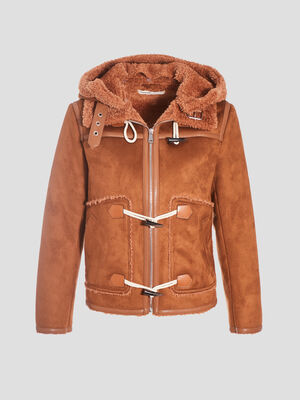 Manteau droit avec capuche camel femme