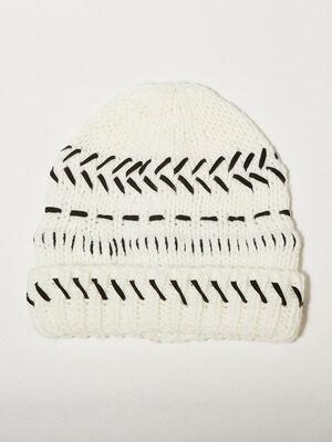Bonnet tricote ecru femme