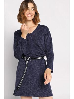 Robe droite a ceinture bleu marine femme