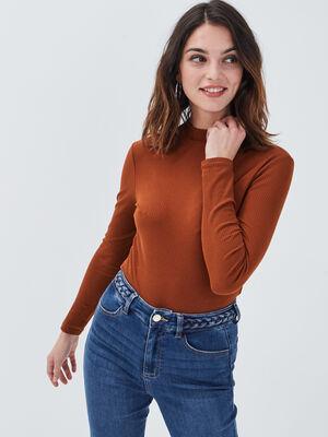 T shirt maille cotelee marron cognac femme