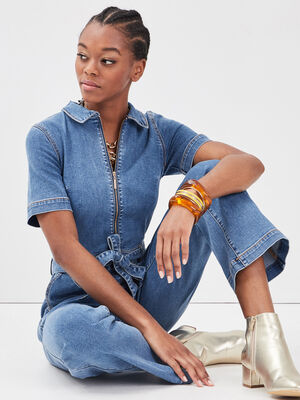 Combinaison zippee en jean denim brut femme