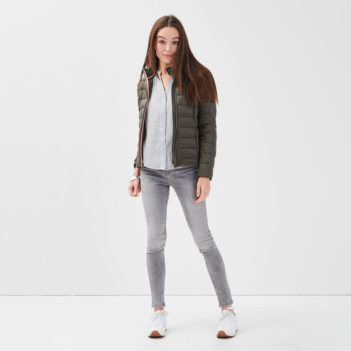 Doudoune droite zippée capuche vert kaki femme