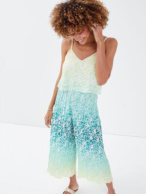 Combinaison pantalon plisse bleu femme