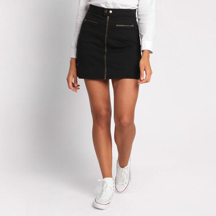 Jupe droite zippée noir femme