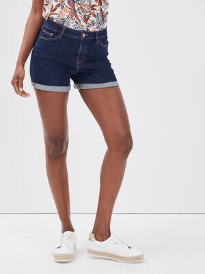 Short droit en jean denim brut femme