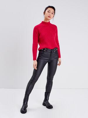Pantalon skinny avec boucles denim noir enduit femme
