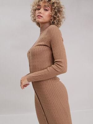 Robe pull longue ajustee beige femme
